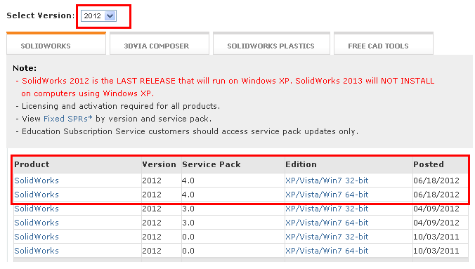 how to update solidworks service pack