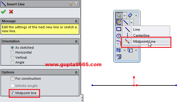 SOLIDWORKS 2015: Mid Point Line